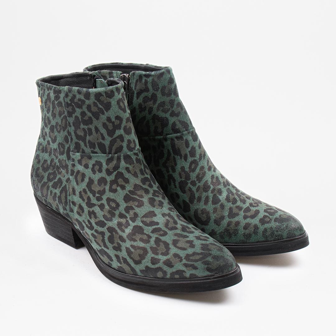 Dashed W Dk Green Leopard